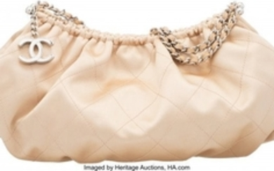 16080: Chanel Champagne Quilted Satin Small Shoulder Ba