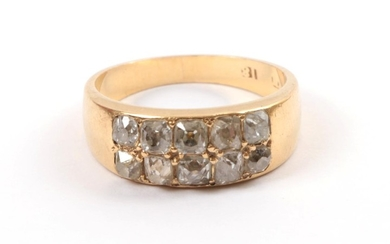 A Late 19th Century Two Row Diamond Ring, the old...