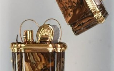 Gold Mounted Agate Ladies Necessaire