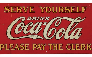 1930S EMBOSSED TIN COCA-COLA COOLER ADVERTISING SIGN.