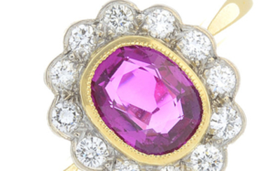 An 18ct gold Burmese ruby and diamond cluster ring.