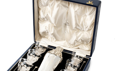 A cased cocktail set for six persons by Walker & Hall of Sheffield, 1936,