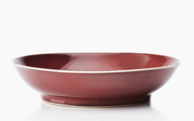 A Chinese copper-red monochrome saucer dish