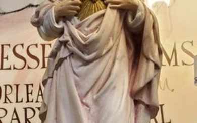 Early 20th Century Jesus Christ Chalkware Statue