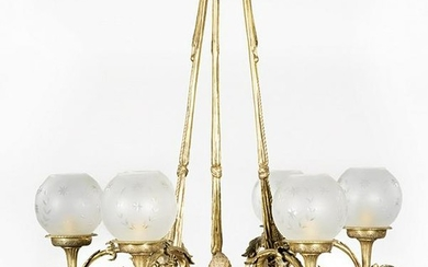 English Gilt Bronze Six-Light Chandelier
