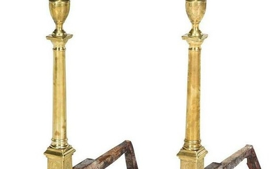 A Fine Pair of Federal Engraved Brass Andirons