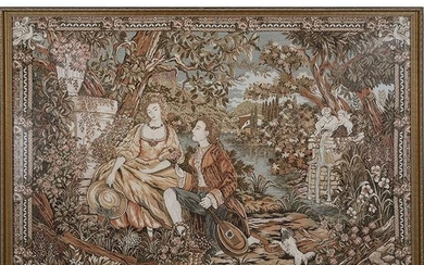 Framed Tapestry Depicting a French Rococo Courtship
