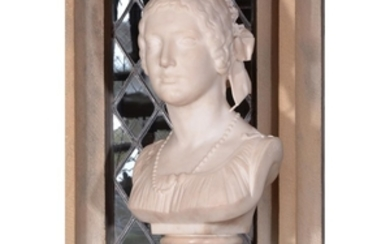 Georges Diebolt (French, 1816–1861), a sculpted white marble bust of a lady