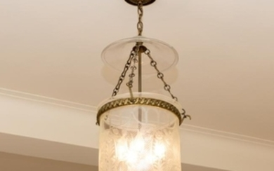 George III Etched Glass Bell Fixture