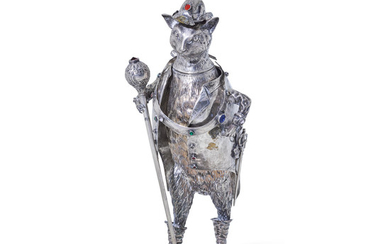 A German Semiprecious Stone Mounted Silver Figure of Puss in Boots