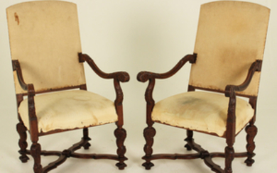 PR. OF 19TH C.LOUIS XIV STYLE CARVED WALNUT FAUTEUILS