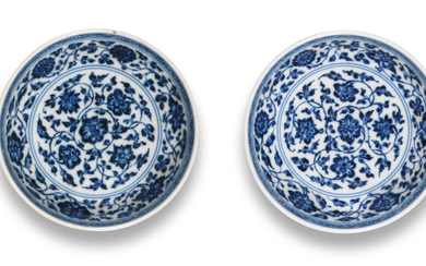 A rare pair of Ming-style blue and white saucer-dishes