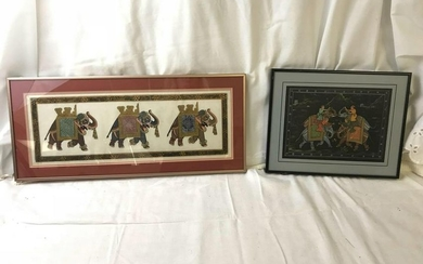 Set Of Indian Elephant Paintings