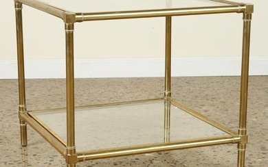 2 TIERED BRASS GLASS BAMBOO SIDE TABLE 1970