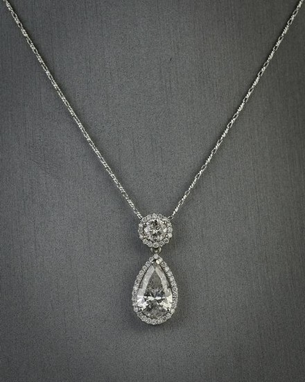 Diamond and 18k white gold pendant necklace
