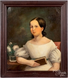 Oil on canvas portrait of a girl with a book