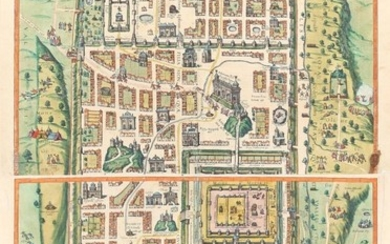 Braun & Hogenberg, Bird eye view of ancient Jerusalem and its suburbs at the time of Jesus, Year 1572
