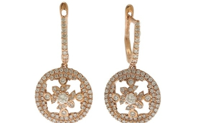 A pair of diamond ear pendants each set with numerous brilliant-cut diamonds, totalling app. 1.20 ct., mounted in 14k rose gold. L. 28 mm. (2)