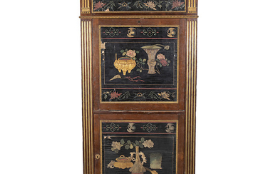 """French """"à abattant"""" secreter of Louis XVI style in mahogany, rosewood, with applications in gilt bronze and coromandel lacquer, second half of the 19th Century."""