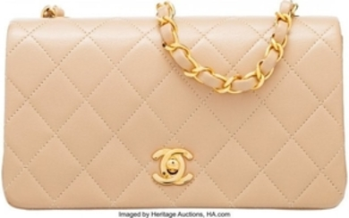 16081: Chanel Beige Quilted Lambskin Leather Mini Shoul