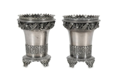 A PAIR OF IZMIR SILVER SPOON WARMERS Ottoman Turk