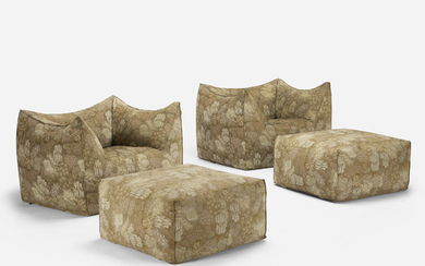 Mario Bellini, Le Bambole lounge chairs and ottomans, pair