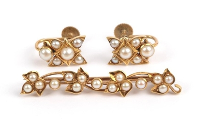 A Seed Pearl Brooch, circa 1900, comprised of four leaf...