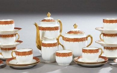 French Limoges Porcelain Coffee Set, c. 1920, including