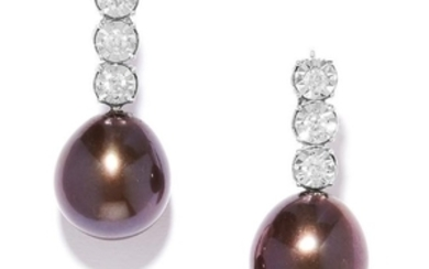 DIAMOND AND PEARL EARRINGS in 18ct white gold, each