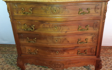 MARBLE TOP LOUIS XV STYLE WALNUT COMMODE