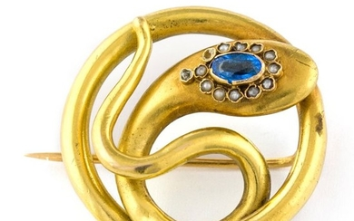 Authentic Antique SNAKE Brooch - 18 kt. Yellow gold - Brooch Sapphire - Pearl