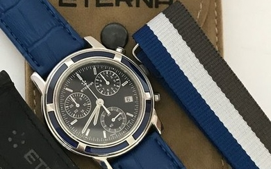 Eterna - Chronograph,navy blue dial, extra 2 cords, Eterna carrying case - Men - 2000-2010