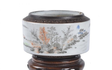 *LOT WITHDRAWN**A Chinese famille rose 'Landscape' waterpot