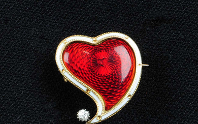 A late Victorian 9ct gold, red guilloche and white enamel witches heart brooch, with old-cut diamond highlight, by Child & Child.