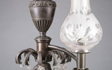 English Bronze Single-Arm Argand Lamp