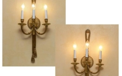 French Bronze Three Light Sconces - Pair