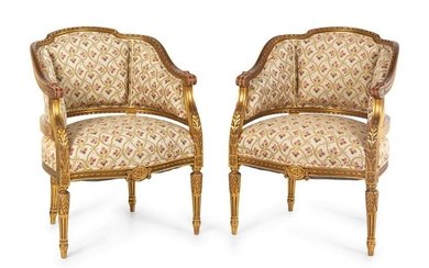 A Pair of Louis XVI Style Giltwood Bergeres