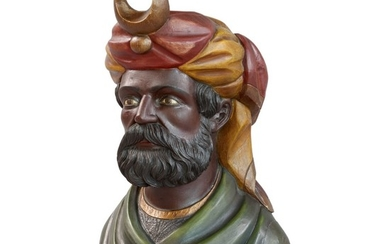 VERY FINE AND RARE CARVED AND POLYCHROME PAINT-DECORATED WOOD TOBACCONIST'S COUNTER TOP TRADE FIGURE DEPICTING A SULTANA, ATTRIBUTED TO WILLIAM DEMUTH (1835-1911), NEW YORK, CIRCA 1880