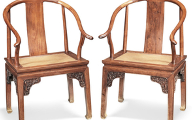 A rare pair of huanghuali horseshoe-back armchairs, quanshiyi