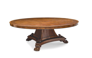 An English Ebony and Burr Yew Banded Pollard Oak Dining Table