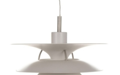 "1907/881: Poul Henningsen: ""Charlottenborg"". PH 6½-6 pendant with white painted metal shades. Manufactured by Louis Poulsen. H. 50. Diam. 65 cm."