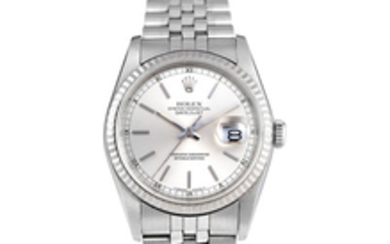 Rolex. A Stainless Steel centre seconds bracelet watch with date