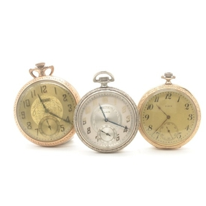 Lot Art | Elgin Gold Tone and Silver Tone Pocket Watch
