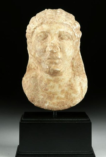 Greek Cyrene Hellenistic Marble Bust of a Youth