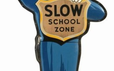 COCA-COLA SCHOOL ZONE POLICEMAN TIN ADVERTISING SIGN.