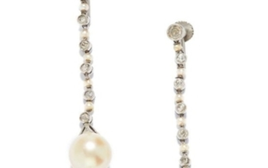 ANTIQUE PEARL AND DIAMOND EARRINGS in white gold or