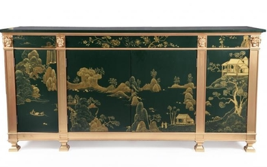 A pair of green lacquered and gilt Chinoiserie decorated side cabinets