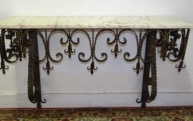 FRENCH HAND FORGED WROUGHT IRON CONSOLE TABLE