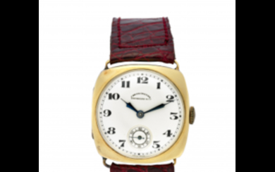 EBERHARD Gent's 18K gold wristwatch 1930s Dial, movement and...