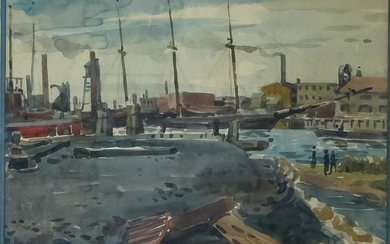 Josef Lenhard 20th C. American Harbor Watercolor
